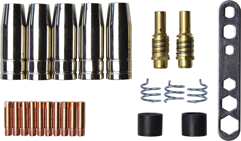 Omendo Juego de piezas adecuado para MIG/MAG MB15 | 23 Piezas | 5 x Tobera de gas | 10 x Punta de contacto M6 0,8mm | 2 x Soporte de boquilla | 3 x Resorte de retención | 2 x Aislador | 1 x Utillaje