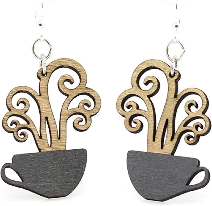 Coffee Mug Necklace Antique Bronze Jewelry,Bronze Color Jewellery Set,Retro Accessories Miniature Jewelries Coffee Cup Dangling Earrings