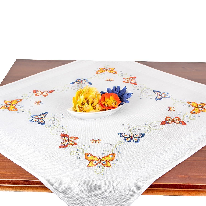 Stickpackung Schmetterlinge, Komplettes vorgezeichnetes Kreuzstich Tischdecken Set Zum Sticken, Stickset mit Stickvorlage Tischdeckenshop24