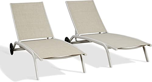 Ulax Furniture Patio Aluminum Chaise Lounger Outdoor Adjustable Lounge Chair with Wheels Beige