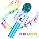 CREUSA Wireless Microphone, Portable Cordless Mic Handheld Karaoke Family Kids Player KTV Speaker with LED Ideal for…