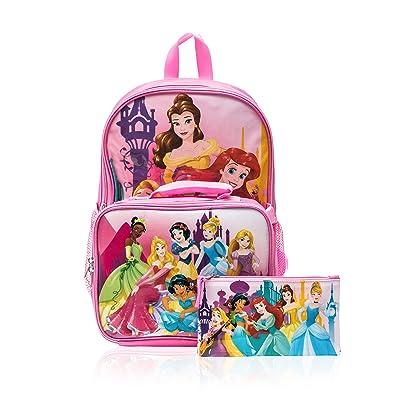 Disney Princess Cinderella Belle Aurora Rapunzel 3 piece Backpack Set | Kids' Backpacks