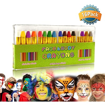 GiBot Face Paint Crayons 16 Colors Face and Body Paint Sticks Body Tattoo Crayons Kit for Kids, Child ,Toddlers, adult and World Cup Carnival,Non-toxic,Set of 16