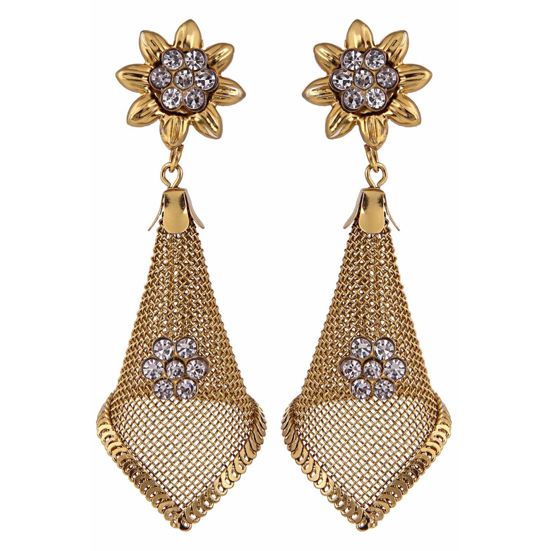 Efulgenz Indian Bollywood Bridal Designer Jewelry Oxidized Gold Plated Traditional Jhumka Jhumki Earrings for Women and Girls Jaipur Art Jewellery MER11