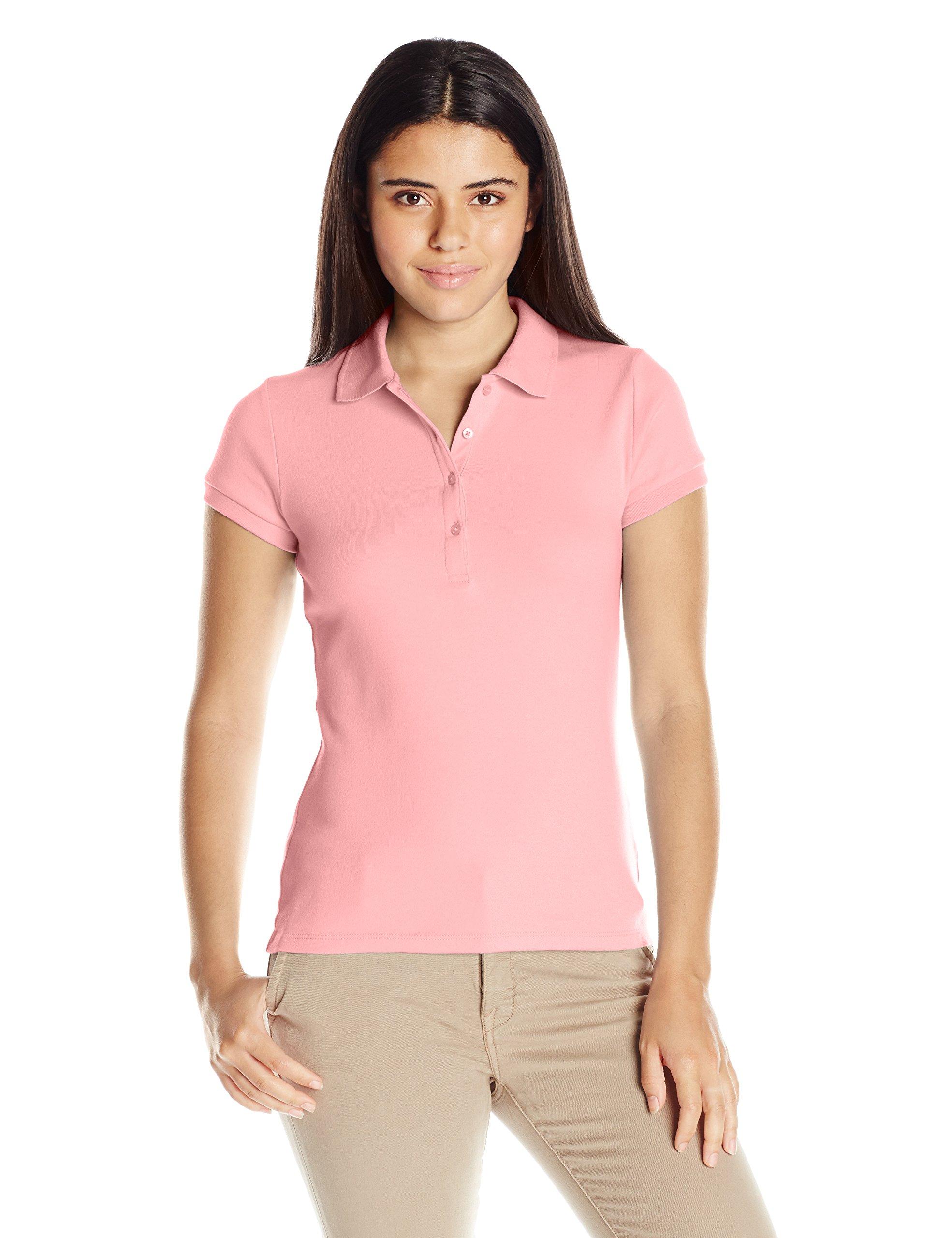 IZOD Junior's Uniform Short Sleeve Interlock Polo, Light Pink, Small