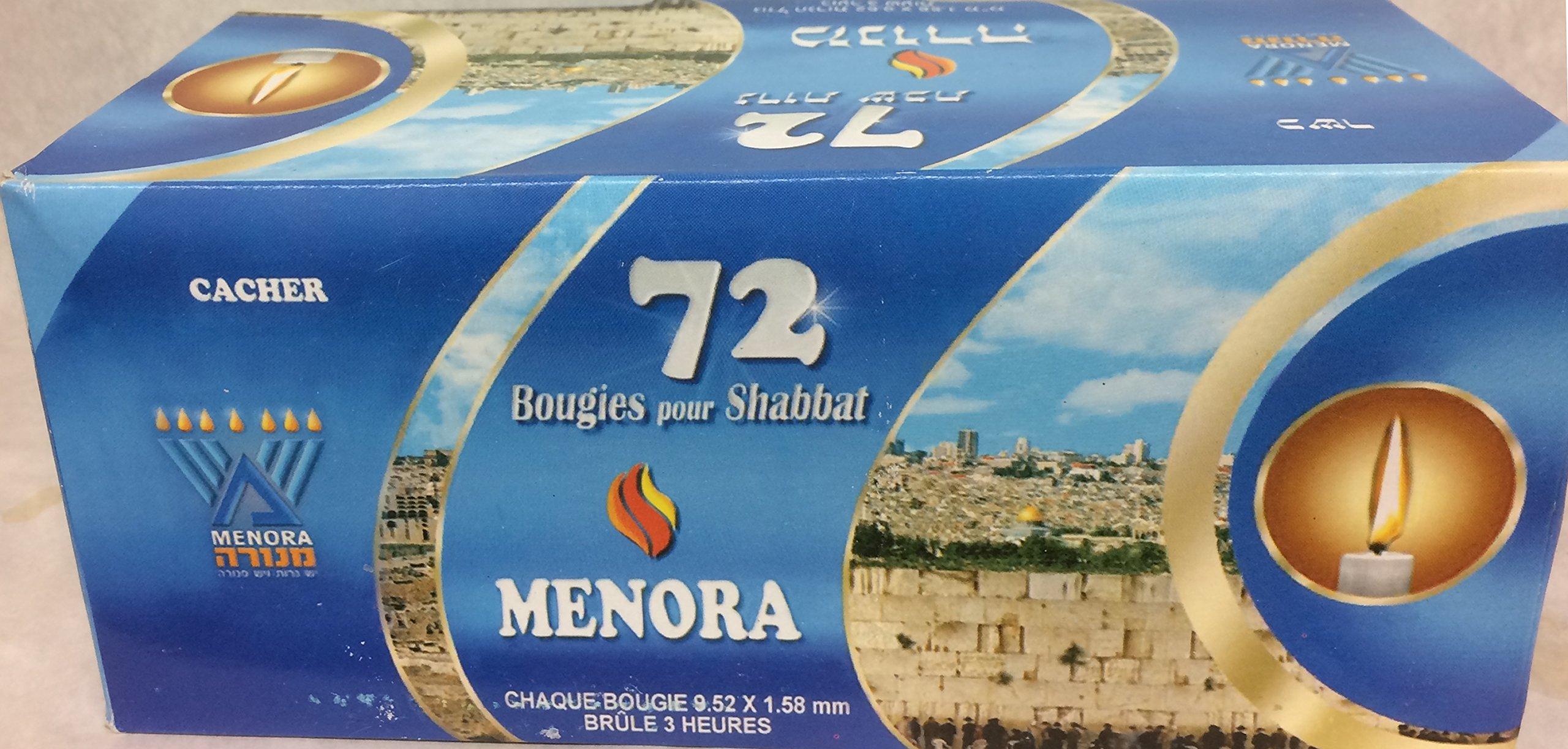 Menora 72 Shabbat Candles Kosher Pack Of 4.