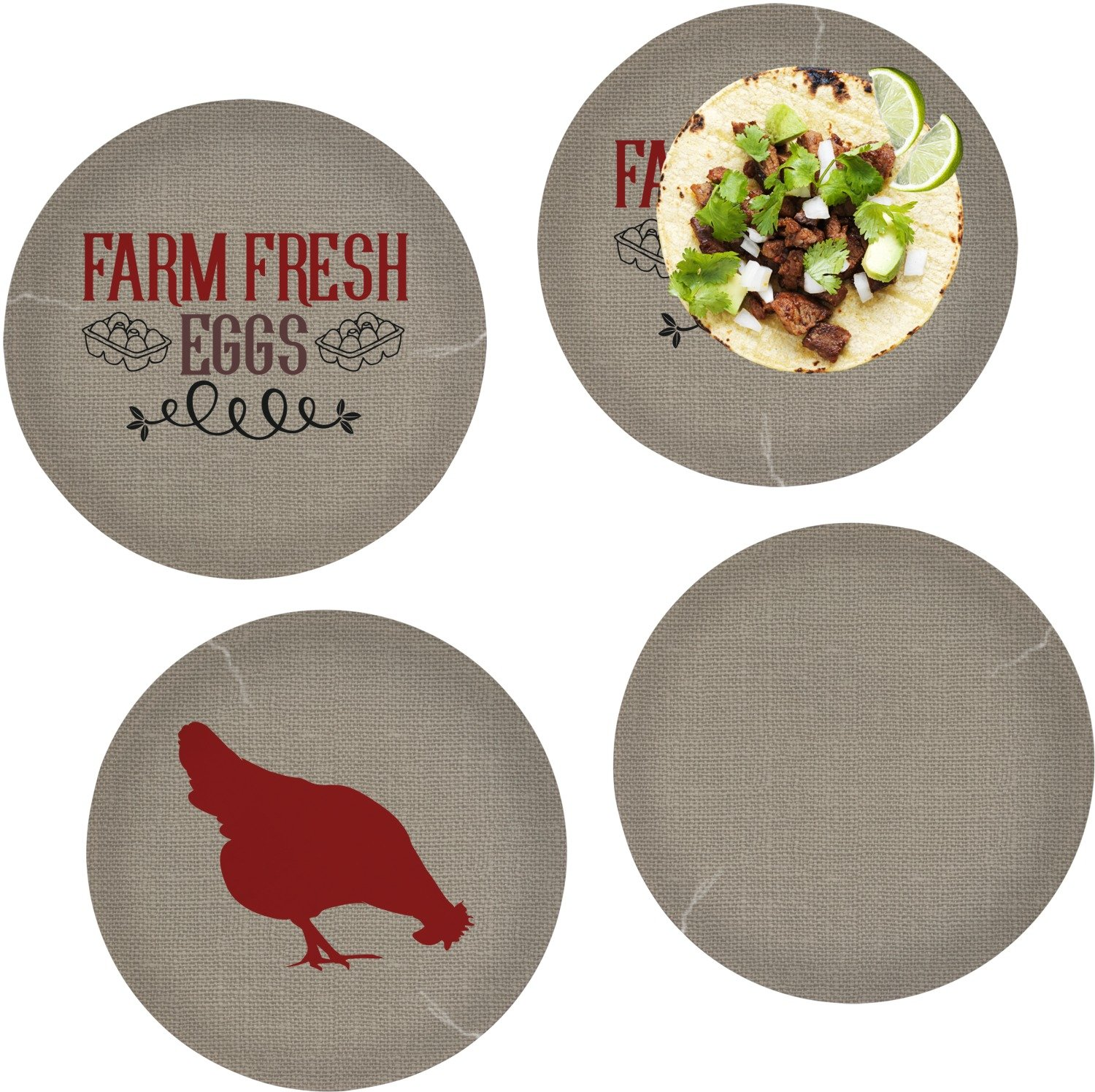 Farm Quotes Set of 4 Lunch / Dinner Plates (Glass) (Personalized)