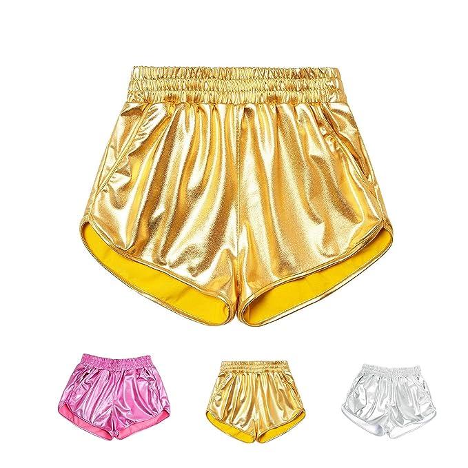 Amazon.com: HIGOFASHION - Pantalones cortos metálicos ...