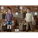 King Cole 4630 Knitting Pattern Boys Sweater and Slipover in King Cole Fashion Aran Combo