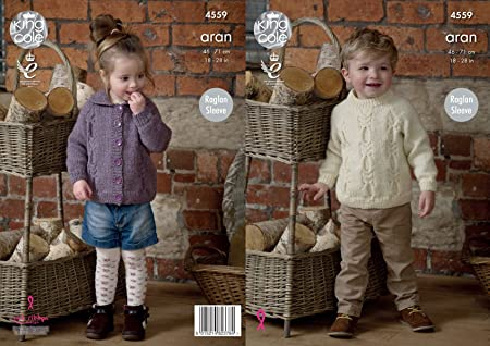 King Cole 4559 Knitting Pattern Childrens Cardigan And Sweater In