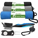 ToVii Golf Towel Microfiber Waffle Pattern Golf Towel | Brush Tool Kit with Club Groove Cleaner | Golf Divot Tool | Golf…