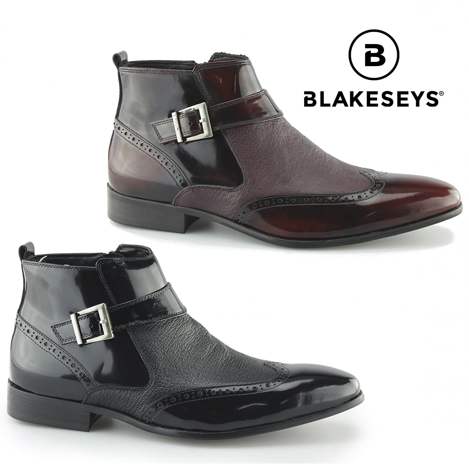 Blakeseys Brosnan Mens Patent/Leather Zip Ankle Boots Burgundy:  Amazon.co.uk: Shoes & Bags