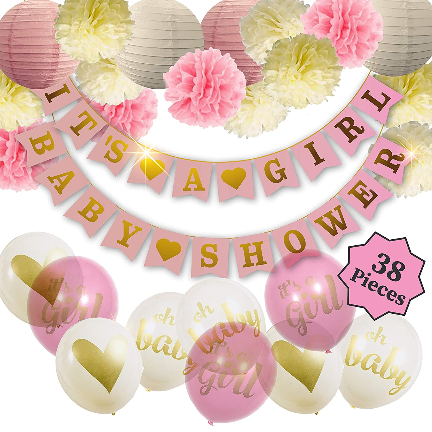 8824307676a56 Baby Shower Decorations For Girl - Girl Baby Shower Decorations: It's a  Girl & Baby Shower Banner, Baby Girl Shower Decorations Kit with Banners,  ...