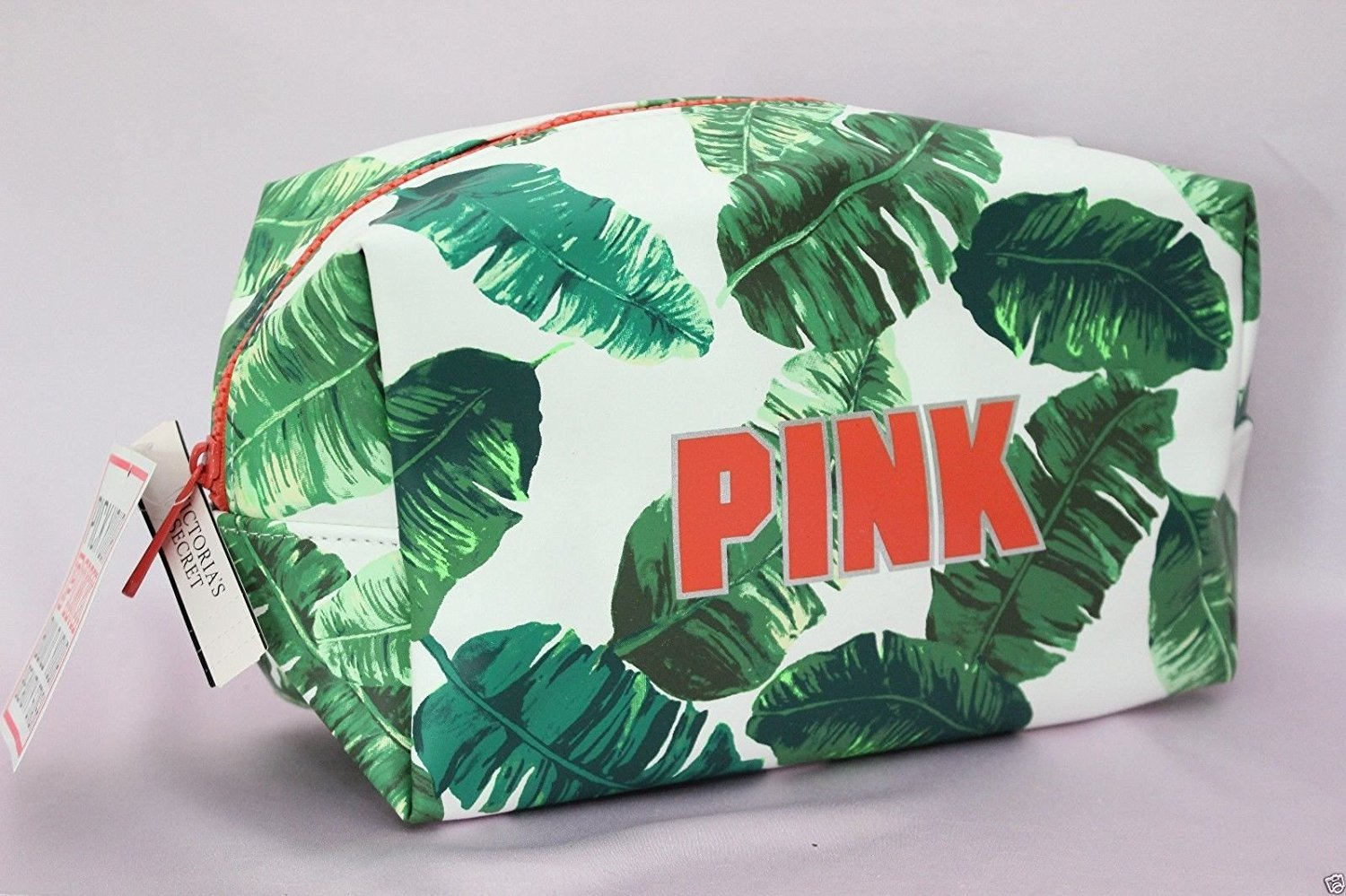 Victoria's Secret PINK Cosmetics Makeup Bag Palm Fern Leaf Print