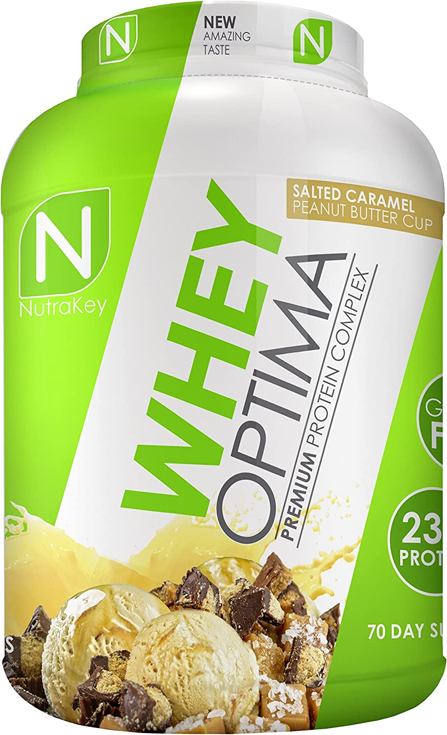 NutraKey Whey Optima Protein Powder, Salted Caramel Peanut Butter Cup, 5 Pound