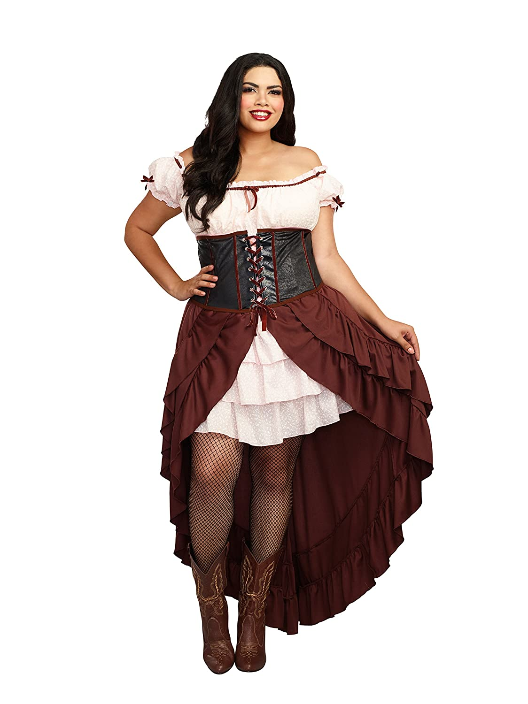 DreamGirl Women's Plus-Size Saloon Gal Brown 2X 11134X-CST-2X