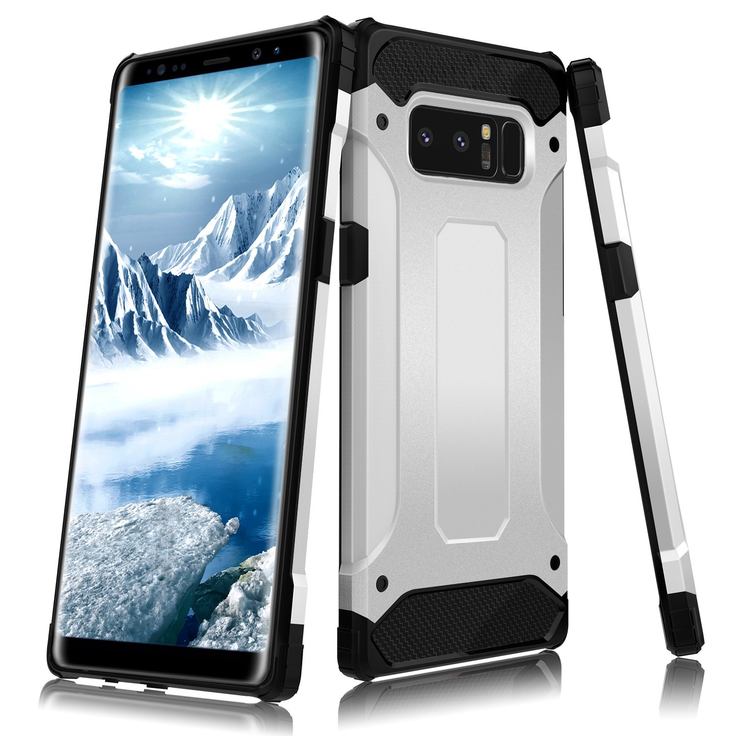 Galaxy Note 8 Case, LoHi Heavy Duty Protection Defend Shockproof Clip Holster with Rugged Bumper 6.3 Inch (6.3 Silver)