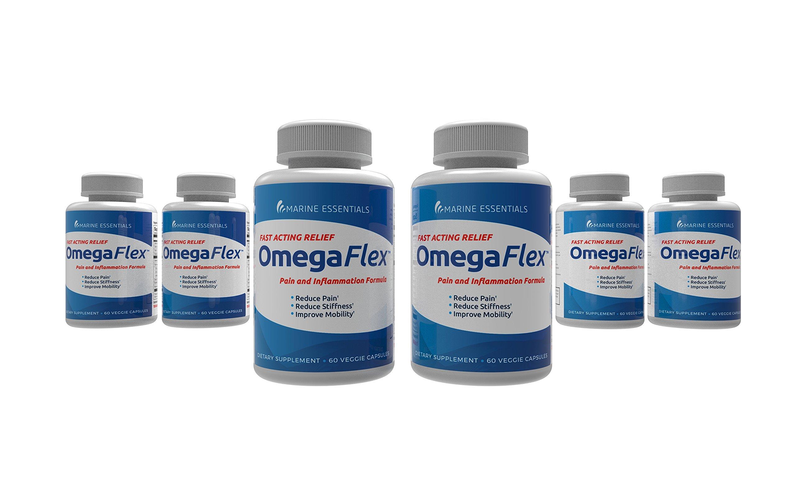 Omega Flex: Reduce Pain, Inflammation, Lubricate Joints, Help Increase Blood Flow, Lessen Stiffness in 7 Days (6 Bottles) by Marine Essentials