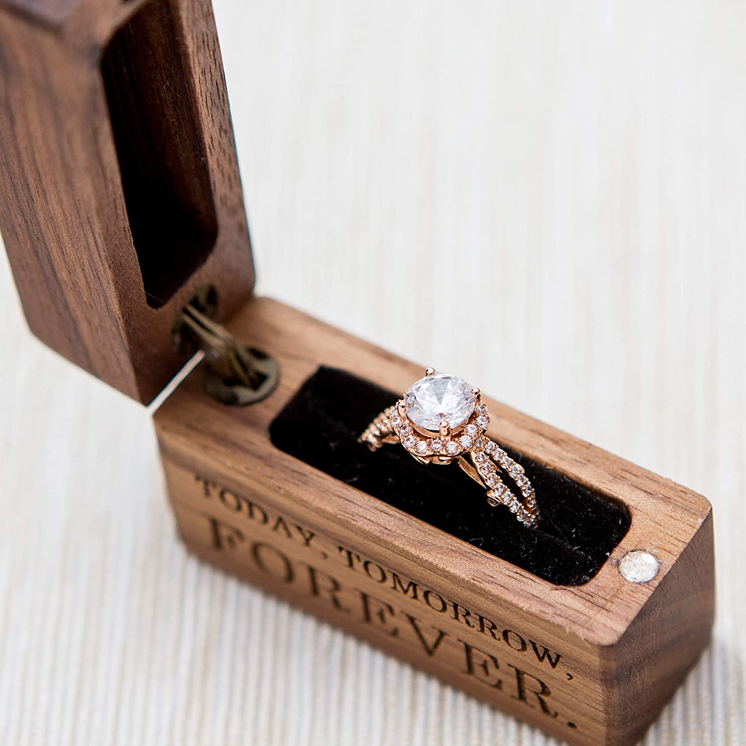 Slim Portable Engagement Ring Box for Proposals, Wedding Ring Storage Engraved Wood Ring Box Today Tomorrow Forever
