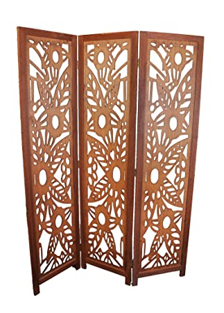 3 Panel Solid Wood Screen Room Divider, Walnut Brown Color with Decorative Floral Cutouts, by Legacy Decor