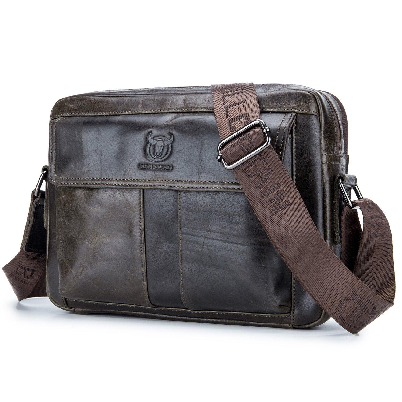BULL CAPTAIN Men Bags Shoulder Leather for Travel Genuine Leather Crossbody Everyday Satchel Bag Messenger Bag iPad Portfolio Bag ZB-035 (Dark Brown)