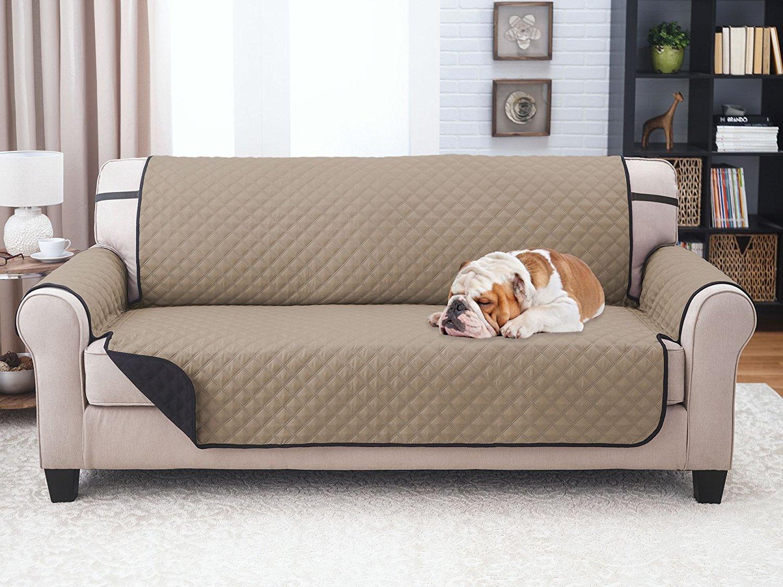 Sara Ashley Elegante Luxurious Reversible Sofa Furniture Protector, Black/Taupe