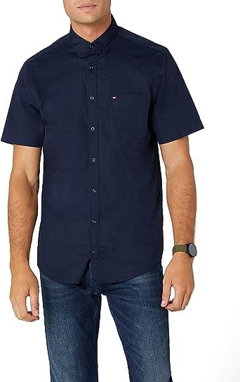 Tommy Hilfiger Stretch Poplin S/s Shirt Camisa, Azul (Navy Blazer 416), X-Large para Hombre: Amazon.es: Ropa y accesorios