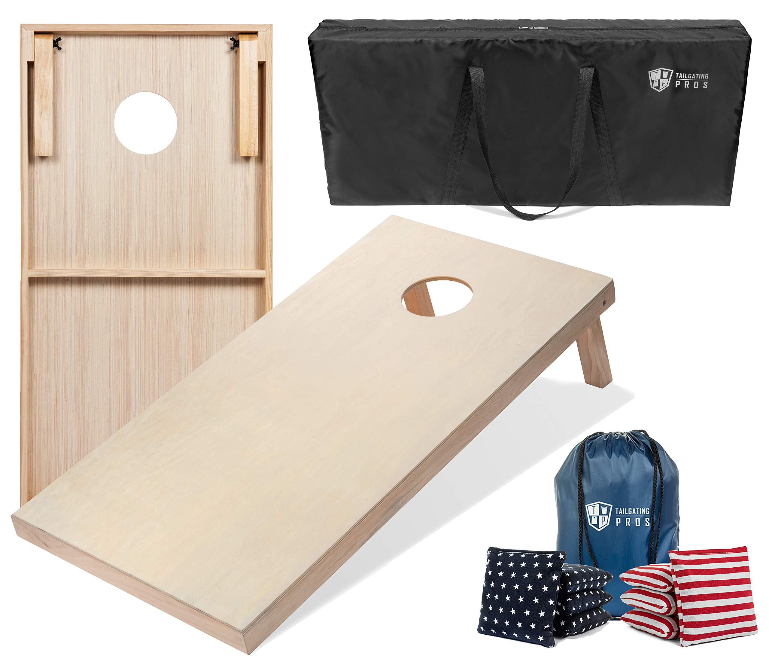Tailgating Pros 4'x2' Cornhole Boards w/Carrying Case & Set of 8 Cornhole Bags (You Pick Color) 25 Bag Colors! (Stars/Stripes, 4'x2' Boards) by Tailgating Pros