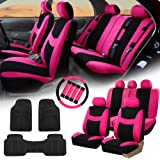 FH GROUP FH-FB030115 Light & Breezy Cloth Seat Covers, Pink / Black Combo Set:FH2033 + F11306 Vinyl Floor Mats-Fit Most Car, Truck, Suv, or Van