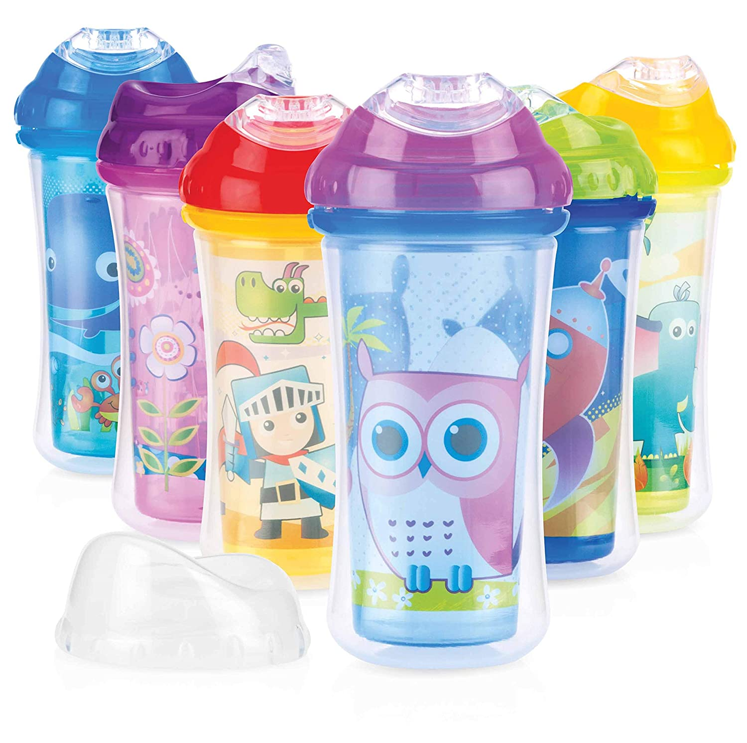 Nuby Clik-It Insulated Ultra Sipper Beaker made from Polypropylene, with Soft Non-Drip Spout, 270 ml, 18+ Months - Random Colours Nûby ID10188