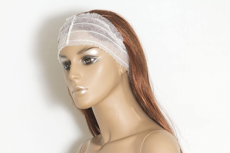 Diadema ancha blanca desechable, (peluquería) Pack de 100 unidades Plasticaps