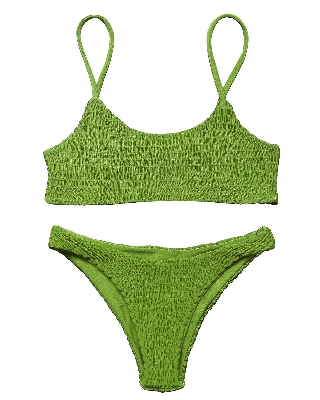 85c127081febe Amazon.com: MOOSKINI Women's Strap Bathing Suit 2pcs Swimsuit Top Brazilian  Bottom Padding Bikini Set: Clothing