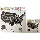 Amazoncom Stencil USA Map Large Stencil X - Large us map stencil