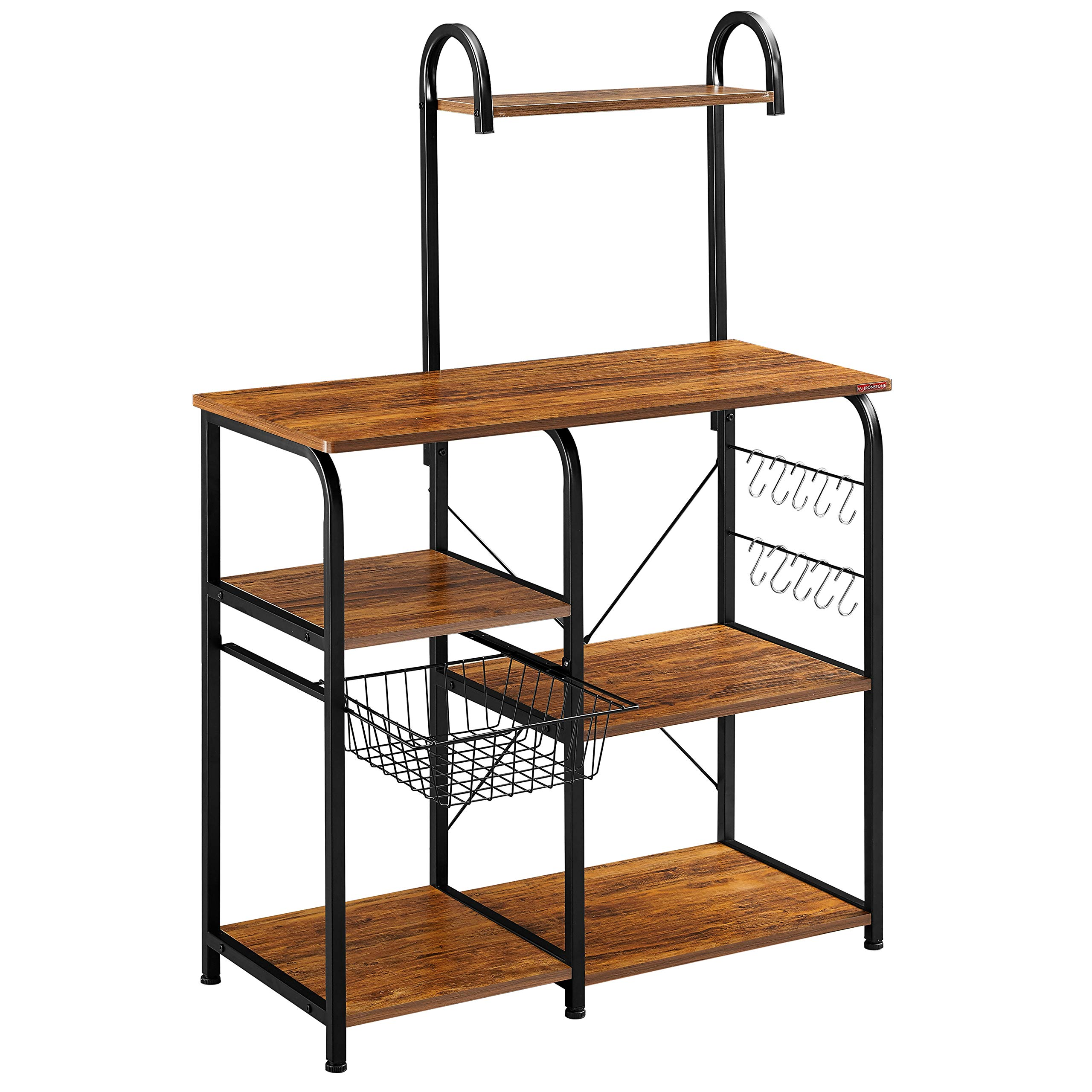 Mr IRONSTONE Vintage Kitchen Baker's Rack Utility Storage Shelf 35.5'' Microwave Stand 4-Tier+3-Tier Shelf for Spice Rack Organizer Workstation with 10 Hooks
