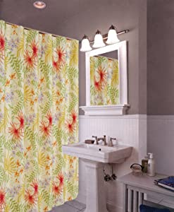 C&F Home Sea Flora Cotton Machine Washable Shower Curtain Green