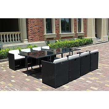 Le Vito : Salon Jardin Noir encastrable en résine 8 fauteuils ...