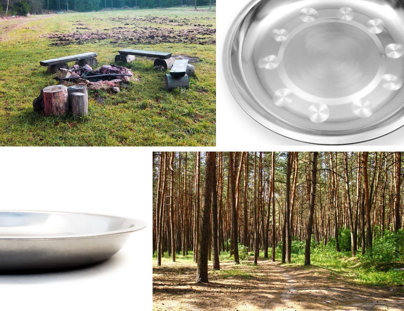 6/x camping/ /Juego de picnic/ Outdoor saxx/®/ Cuchillo, Tenedor, Cuchara, irrompible, acero inoxidable, 8/piezas /2/x camping Plato /Ø17/cm /Cuberter/ía plegable