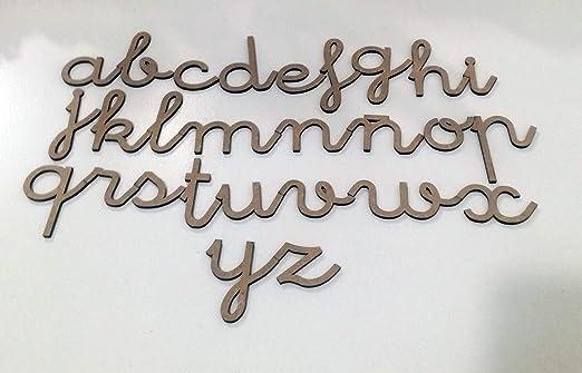 72 letras minúsculas de madera DM. Abecedario minúsculas tipo de ...