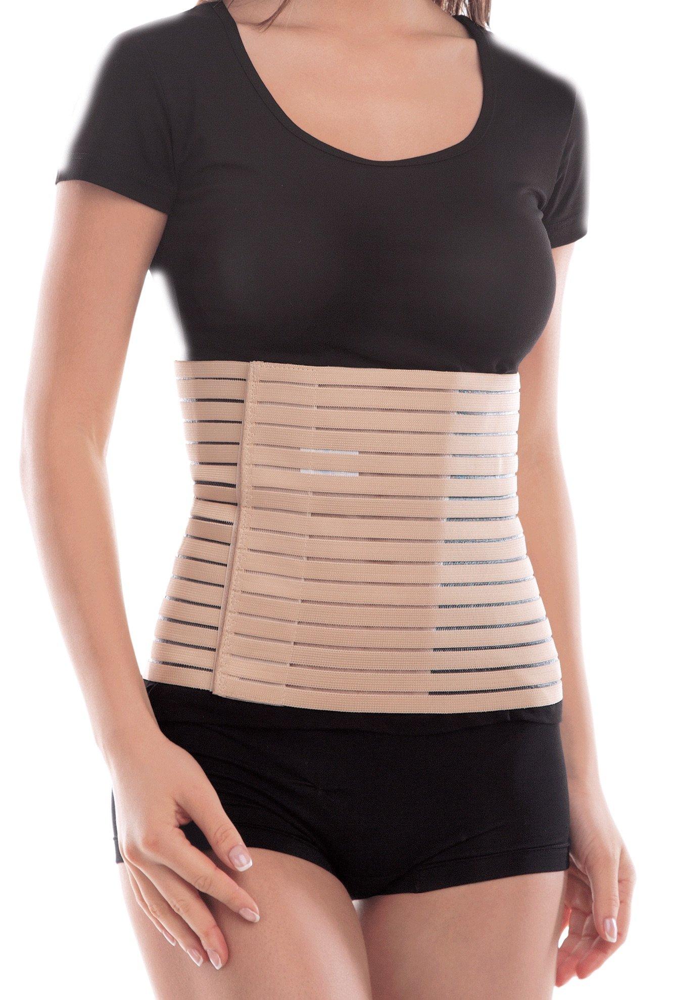 TOROS-Group Breathable 9'' Elastic Postpartum Girdle/Postoperative Abdominal Binder - Medium, Waist/Belly 32'' - 35½'' Beige