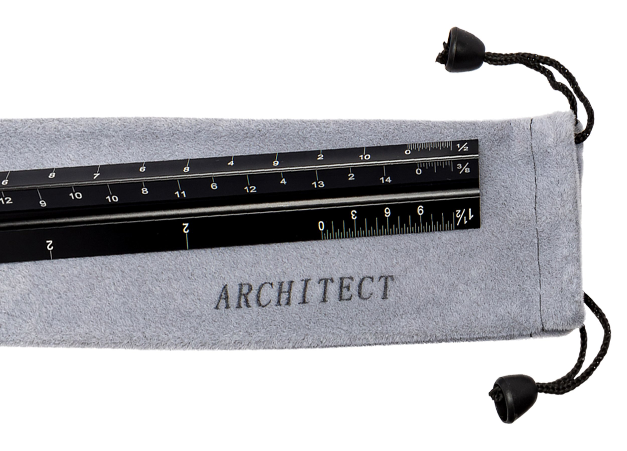 Avant Design 12'' Architectural Scale Ruler with Carrying Pouch (Imperial) - Solid Aluminum Core, Anodized Black with Laser Etched Markings - Ideal for Architects, Students, Draftsman, and Engineers