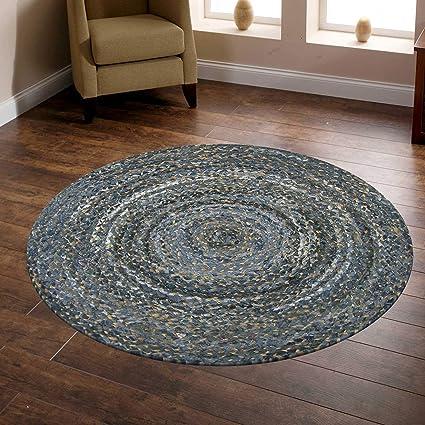 Jai Shri Shyam Jute_Denim Round Shape Single Piece Floor Rug/Big Door Mats_90X90 cm_Natural