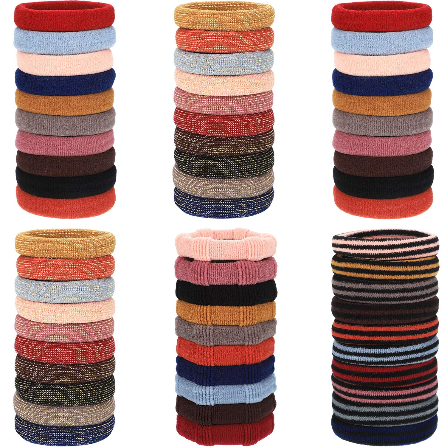 60 Pieces Seamless Cotton Hair Ties Elastic Hair Bands Stretch Ponytail Holders No Crease Hair Ties for Women Girls, 4 Styles, Multicolors