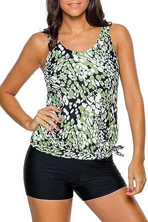 Diukia Women Printed Blouson Tankini Tops with Boyshort Set Two Piece Swimsuits