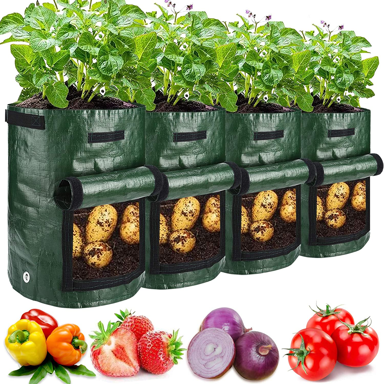 4 Pack 10 Gallon Garden Potato Grow Bags with Flap and Handles Aeration Fabric Planter Pots , Heavy Duty Potato Planters Garden Planting Bags for Onion, Fruits, Tomato, Carrot (Green)