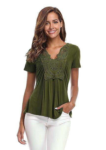 Amazon.com: Miss Moly, blusa de manga corta para mujer ...