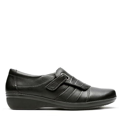 a2ca0058945e Clarks Women s Velcro Monk Wedge Shoes Everlay Luna Black Leather 3 UK D  Black