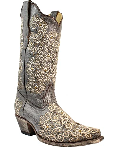 Women's Grey Floral Embroidered Studs and Crystals Cowgirl Boot Snip Toe - R1408