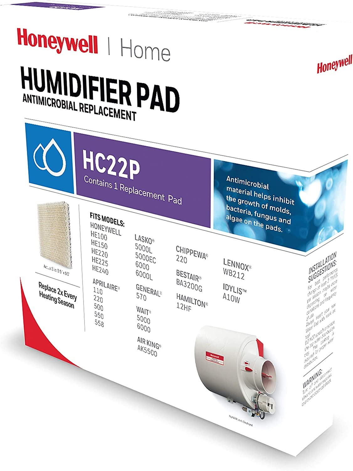 Honeywell Home Whole House Humidifier Replacement Pad for HE220A Humidifier