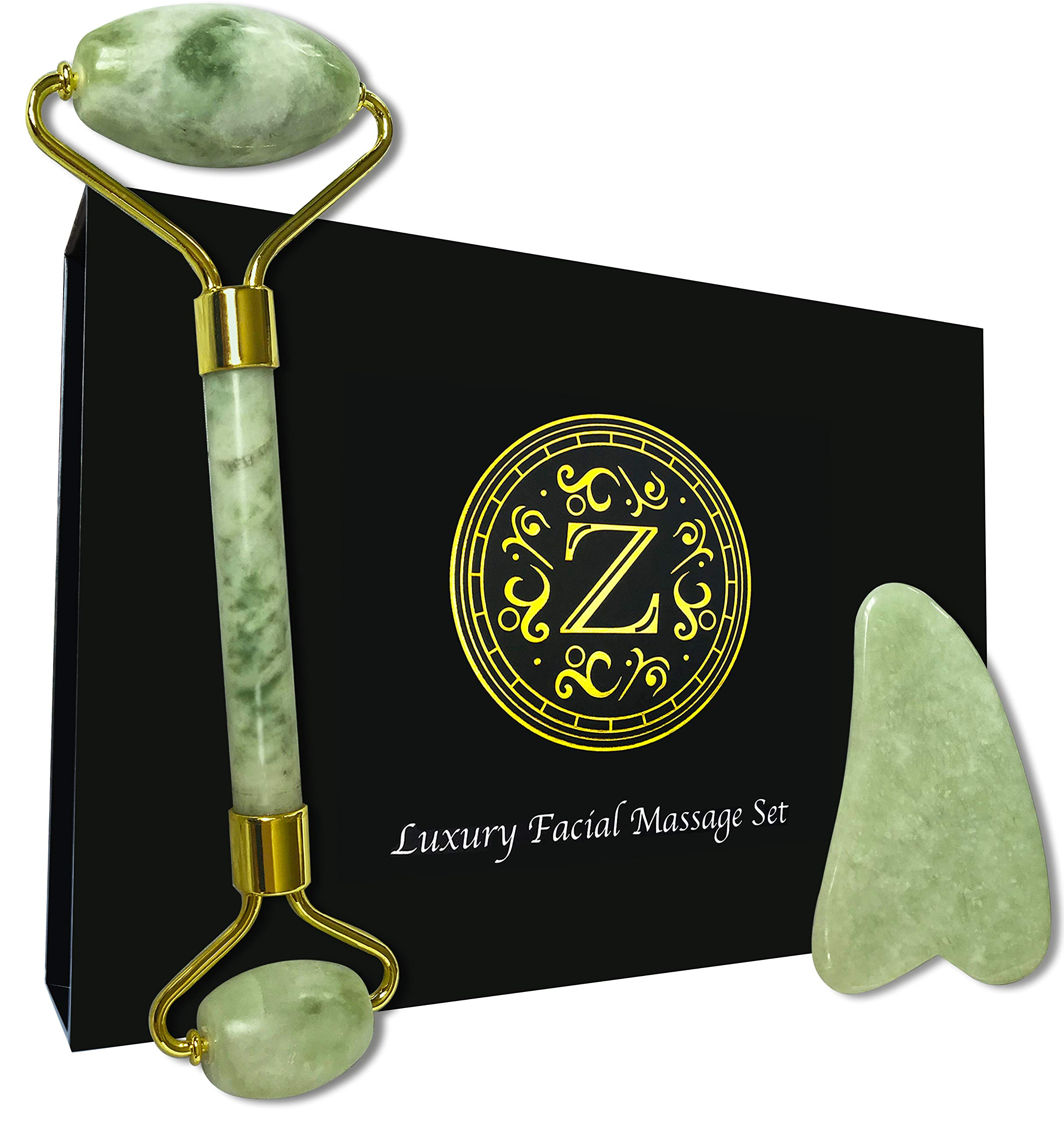 Jade Roller and Gua Sha Set - Luxury Facial Massage Set by Zamlinco - 2 Genuine Jade Massager Skin Care Tools for Face, Eyes and Neck - Achieve Firmer, Healthier, and more Radiant Looking Skin by Zamlinco