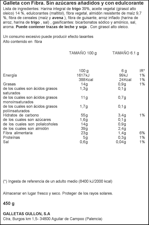 Gullón Diet-Fibra Galletas sin Azúcares - 450 g: Amazon.es: Amazon Pantry